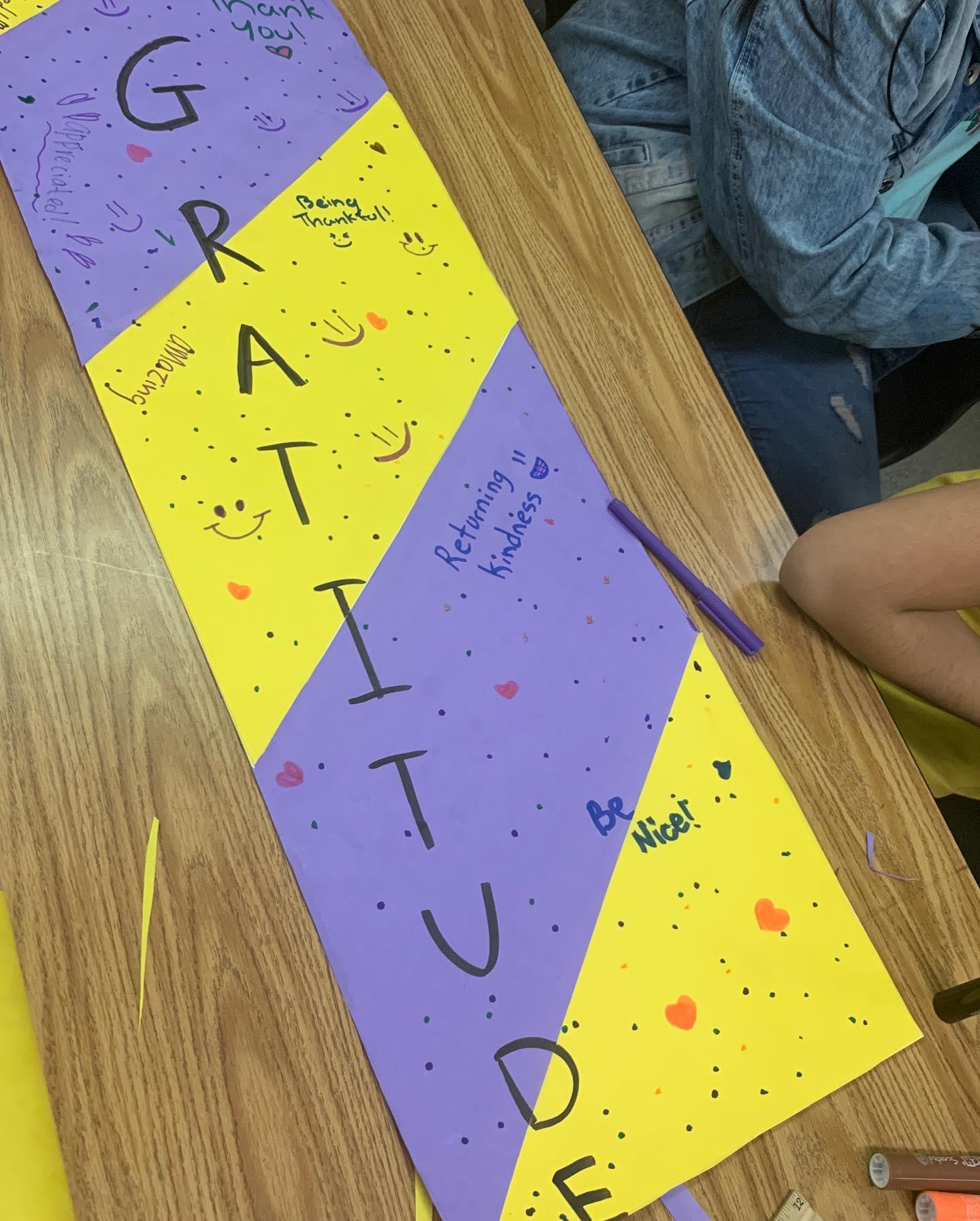 student poster on gratitude
