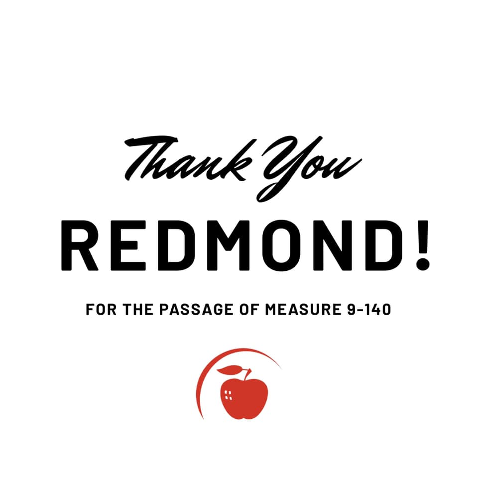 Thank you Redmond for teh passage of Measure 9-140